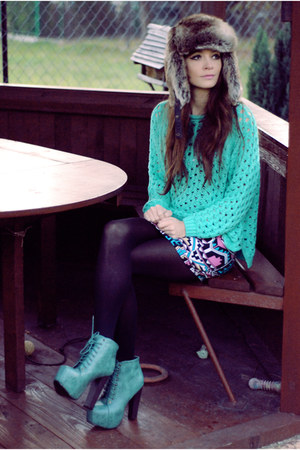 aztec Motel Rocks dress - fur H&M hat - mint romwe jumper