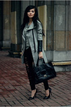 heather gray leather Zara coat - gray hot romwe jumper