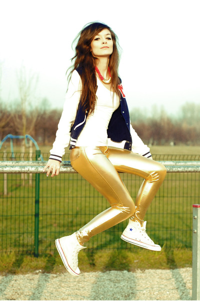 gold gold AX Paris pants - white converse Converse shoes - navy blue H&M blazer