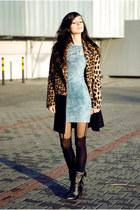 black zipper leather Choies boots - sky blue jeans H&M Trend dress