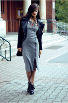 black black boots Choies boots - heather gray Sheinside dress