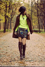 Printed-blackmilk-dress-dark-brown-romwe-coat-light-yellow-neon-romwe-jumper