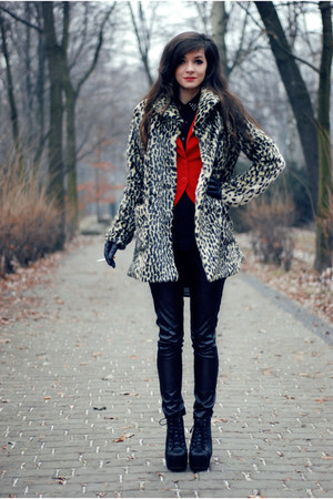 red red H&M blazer - fur lulus coat - black leather romwe pants