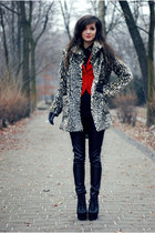 red red H&M blazer - fur lulus coat - black leather romwe pants