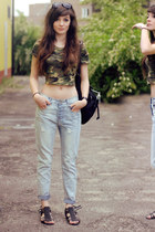 army romwe top - black rocker H&M sandals