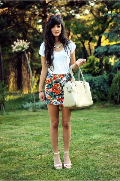 carrot orange floral 6ks skirt - white minimal romwe shirt