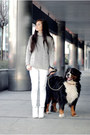Silver-wool-sheinside-sweater-white-jeans-zara-pants