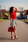 Red-chiffon-tideshe-shirt-black-houndstooth-choies-skirt