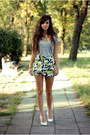 Yellow-floral-print-choies-skirt
