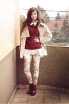 crimson retro Zara boots - camel wool romwe coat - floral Zara pants