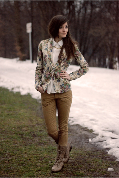 floral Stradivarius blazer - white retro Cozbest shirt