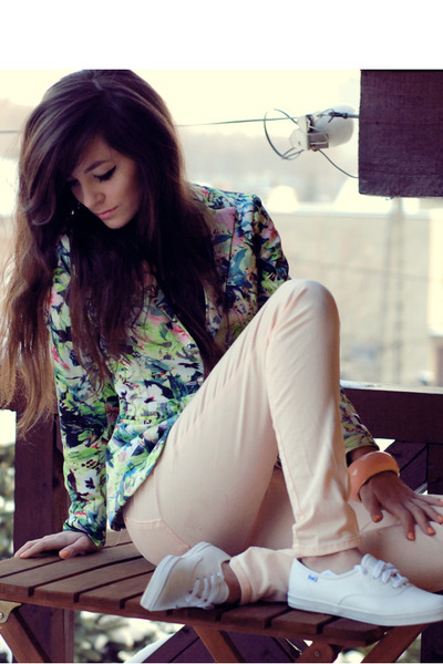 floral Sheinside blazer - orange H&M pants