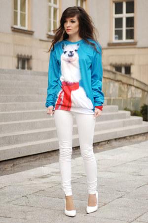 white white pull&bear pants - white heels Choies heels