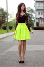 Black-black-h-m-dress-yellow-neon-nasty-gal-skirt