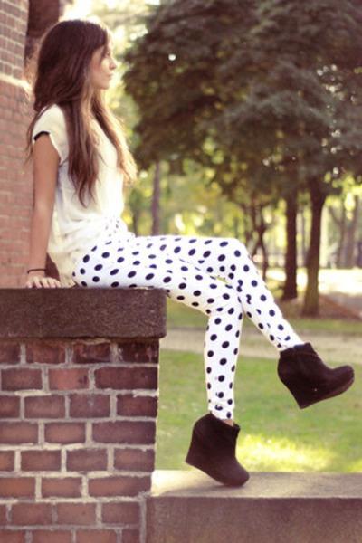 black chiffon Sheinside shirt - white cotton Motel Rocks pants