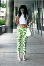 Chartreuse-floral-zara-pants-white-crop-top-choies-top-white-minimal-sandals