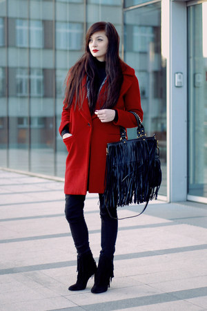 red oversized Zara coat - black fringe Zara boots