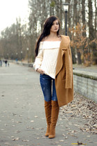 tawny leather Zara boots - white wool H&M sweater