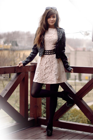 black rocker reserved jacket - neutral vintage AX Paris dress
