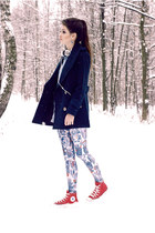 red converse Converse shoes - navy wool romwe coat