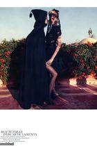 black vintage coat - black stockings - black Oscar de la Renta dress
