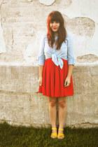 ruby red modcloth dress - light blue Strut top - yellow modcloth sandals
