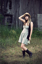 black thrifted boots - blue grass collection clothing dress - beige modcloth hat