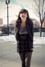 Blue-kensie-dress-gray-unknown-brand-cardigan-gray-gap-tights-gray-forever