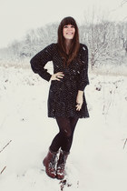 navy sosie dress - brown Target boots - black HUE tights
