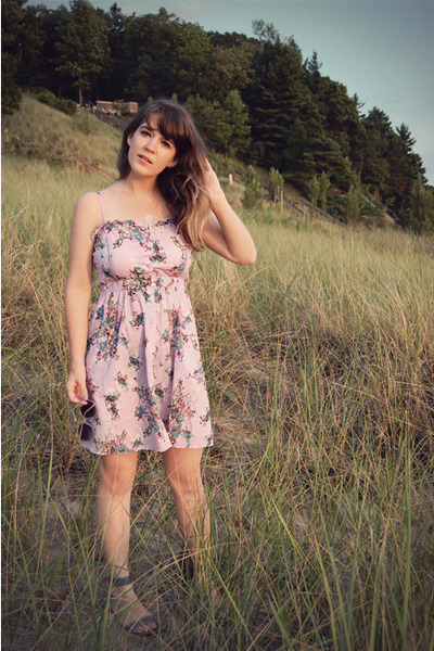 purple modcloth dress - gray Urban Outfitters shoes - silver jess lc jewelry acc