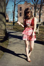 Pink-modcloth-dress-brown-forever-21-belt-brown-urban-outfitters-shoes-red
