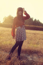 Lulus-tights-forever-21-top-forever-21-skirt-blowfish-shoes-heels