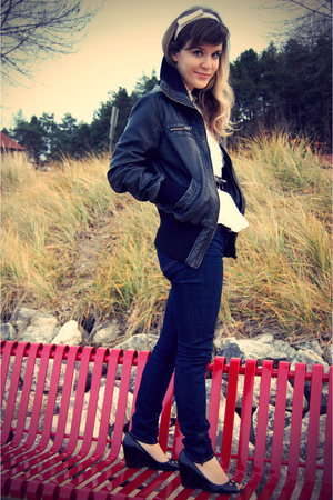 black b hip by me jane jacket - blue Old Navy jeans - white Forever 21 shirt - w