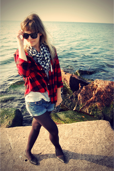 black Ragstock scarf - black Urban Outfitters sunglasses - blue DIY jeans - blac