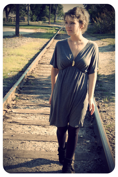Target tights - Old Navy dress - Kaya boots - forever 21 necklace