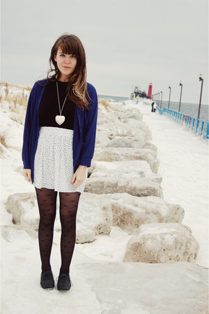 blue threadsence cardigan - black thrifted top - white Zara skirt - black Foreve