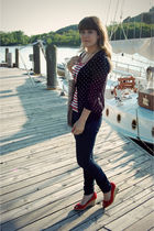 blue talbots cardigan - red moda via DSW shoes - red Forever 21 top - gold modcl