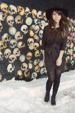 black Urban Outfitters hat - black Forever 21 boots - black threadsence dress