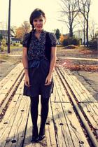 purple Forever 21 shirt - black Forever 21 vest - gray Forever 21 skirt - black