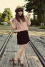 Black-forever-21-dress-tan-modcloth-hat-black-forever-21-heels-light-pink-
