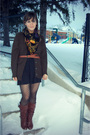 Green-thrifted-cardigan-brown-urban-outfitters-belt-brown-target-boots-bla