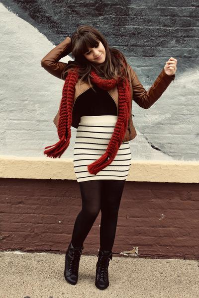 white Forever 21 skirt - black Forever 21 boots - brown Forever 21 jacket