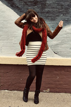 white Forever 21 skirt - black Forever 21 boots - brown Forever 21 jacket