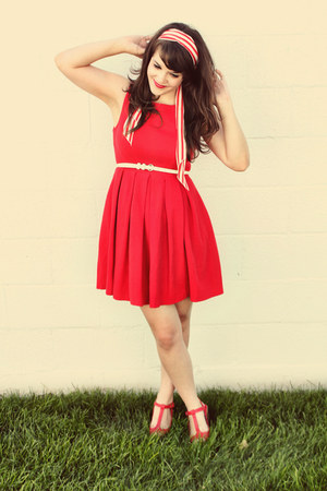 red modcloth dress - red Blowfish Shoes wedges - red modcloth accessories