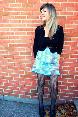 blue kensie dress - black Gap cardigan - black Forever 21 belt - black Anne Klei