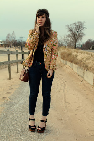 black Jeffrey Campbell shoes - blue Gap jeans - bronze modcloth blazer - dark br