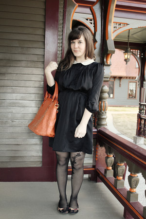 black Target tights - black modcloth dress - bronze le mode accessories bag