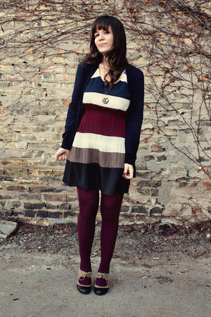 navy modcloth dress - maroon TJ Maxx tights - navy Ruche cardigan