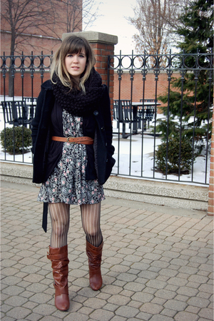 blue skirt from finders keepers swap dress - brown Target boots - black H&amp;M coat