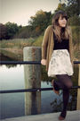 Green-h-m-cardigan-black-express-t-shirt-white-modcloth-skirt-brown-urban-